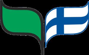 Kuvassa on sirkkalehtimerkki. Merkin vasen puoli on vihreä lehti ja oikea puoli lehden muotoinen Suomen lippu.